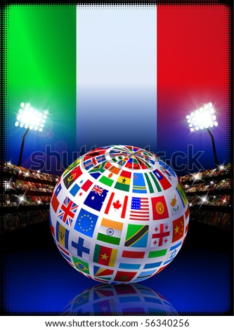 Italy Flag Globe on Stadium Background Original Illustration