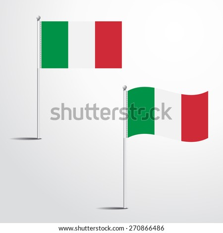 ITALY flag normal and waving flag set | abstract flag vector eps 10 - stock vector