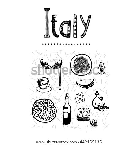 Italy Food Set Italian Hand Drawn Isolated Sketch Draw With Calligraphy Inscription