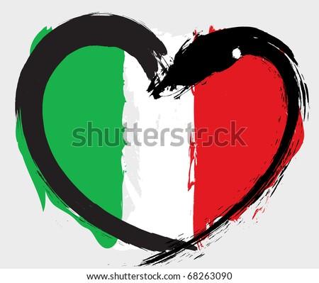 Italy grunge flag - stock vector