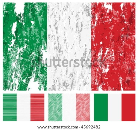 Italy grunge flag set on a white background. Vector illustration.