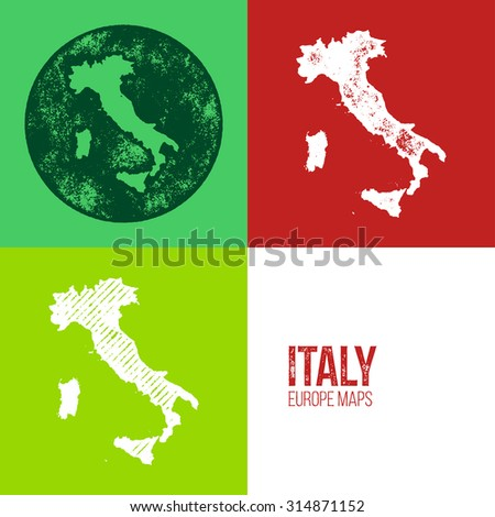 Italy Grunge Retro Map - Three silhouettes Italy maps with different unique letterpress vector textures - Infographic and geography resource - stock vector