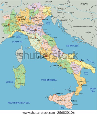 Italy - Highly detailed editable political map with separated layers. - stock vector