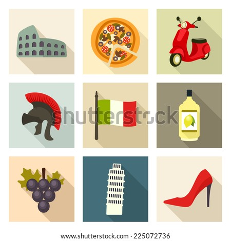 Italy icon set - stock vector