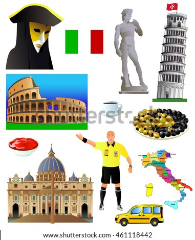 Italy landmarks icon set. Vector illustration, isolated on white. Venetian mask, statue of David, Pisa Tower, Colosseum, Map and flag of Italy, soccer referee, cup of coffee, St.Peter Basilica