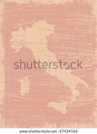 Italy map distressed by hundreds scratches - stock vector