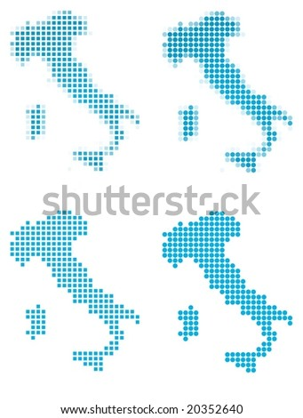 Italy map mosaic set. Isolated on white background. - stock vector