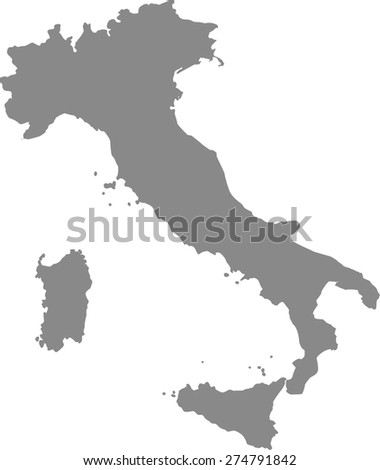 Italy map outlines in grey background for designing brochure template, advertising design for tourist map, and web-page template or construction - stock vector