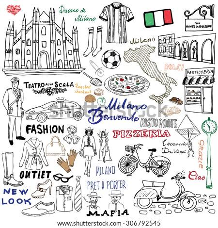 Italy Milan Hand Drawn Set Sketch Stock Vector 306792545 Shutterstock
