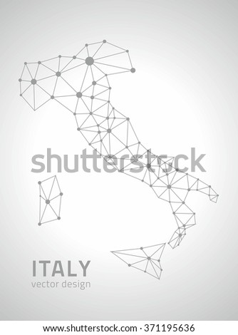 Italy outline map - stock vector