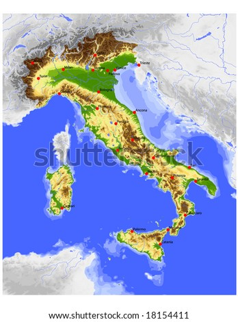 Italy. Physical vector map, colored according to elevation, with rivers, ocean depths and selected cities. Surrounding territory greyed out. 39 layers, fully editable. Data source: NASA - stock vector