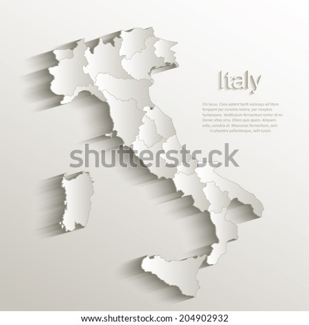 Italy political map card paper 3D natural vector individual state separate - stock vector