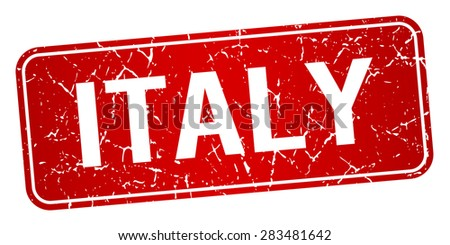 Italy red stamp isolated on white background