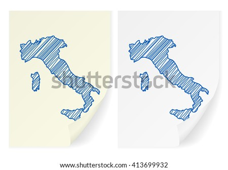 Italy scribble map on a white background. - stock vector