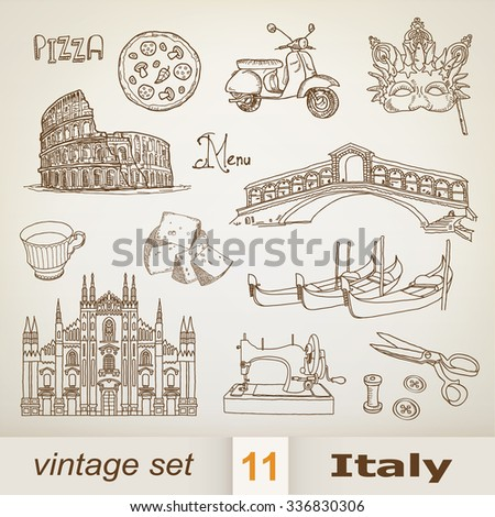 italy. set - stock vector