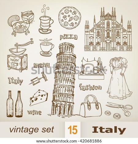 Italy. set - stock vector