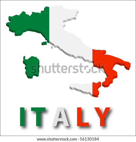 Italy territory with flag texture. - stock vector