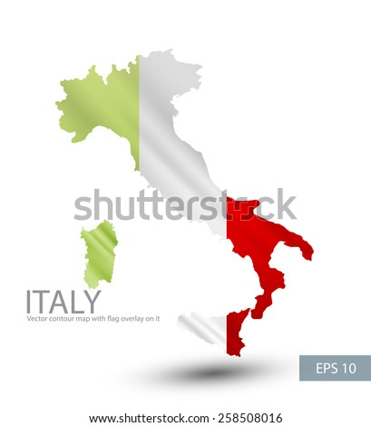 Italy vector contour map with Italy flag overlay on it. Vector illustration. EPS.10. - stock vector