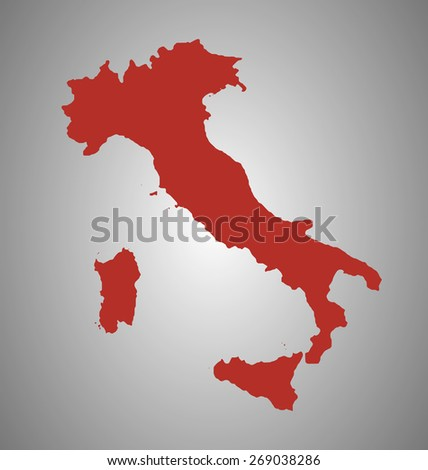 Italy. Vector country shape outline. High detail map. - stock vector