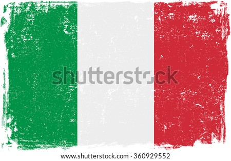 Italy vector grunge flag isolated on white background.