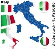 Italy vector set. Detailed country shape with region and provinces borders, flags and icons isolated on white background. - stock photo