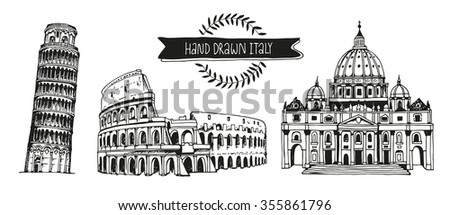 Italy vector set, hand drawn collection of italian landmarks: Tower of Pisa, Coliseum and St. Peter's Basilica, isolated on white background - stock vector