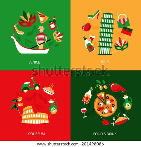 Italy venice coliseum food and drink decorative elements set isolated vector illustration - stock vector
