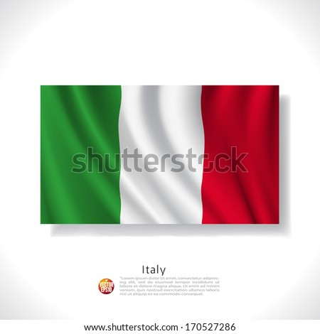Italy waving flag isolated against white background, vector illustration  - stock vector