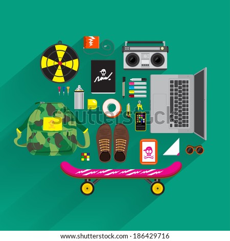 Item lifestyle and marketing on top view by vector platform flat design and longshadow - stock vector