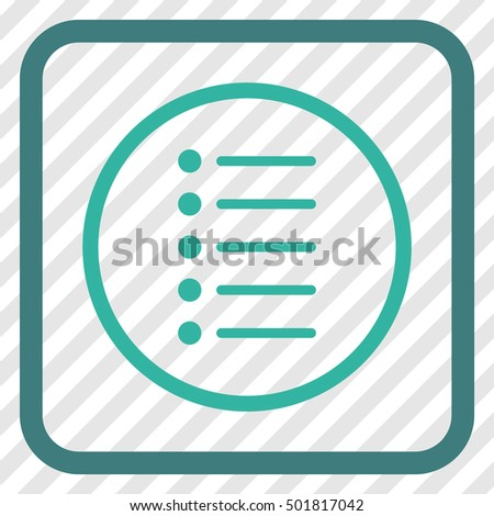 Items cobalt and cyan vector icon. Image style is a flat icon symbol in a rounded square frame on a transparent diagonally hatched background.