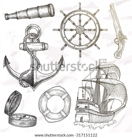 Items on the marine theme. Hand drawn elements. - stock vector