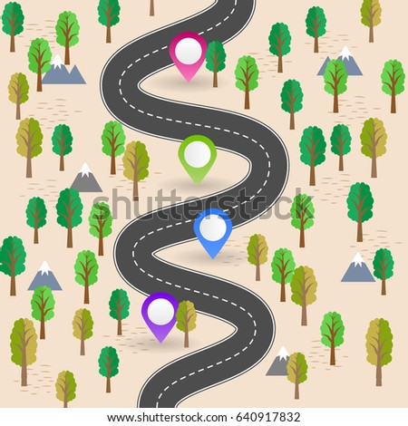 Itinerary Planning Infographic Important Turns Road Traffic Trip Navigation Illustration Landscape Details