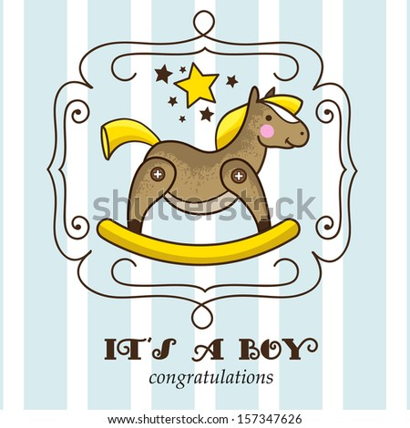 Its a boy. Baby shower invitation card with retro rocking horse - stock vector