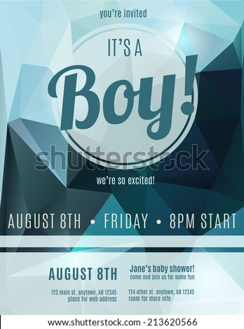 Its a boy birth announcement flyer design template for baby shower - stock vector