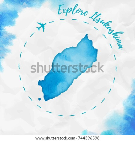 Itsukushima Watercolor Island Map Turquoise Colors Stock Vector