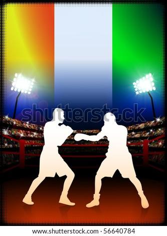 Ivory Coast Boxing on Stadium Background Original Illustration - stock vector