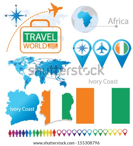 Ivory Coast. flag. World Map. Travel vector Illustration. - stock vector