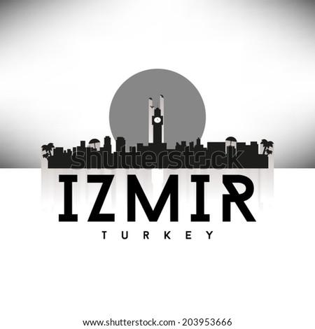 Izmir Turkey skyline silhouette Black and White design, vector illustration. - stock vector