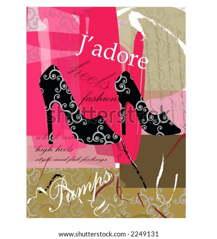 J'adore series  - pumps - stock vector