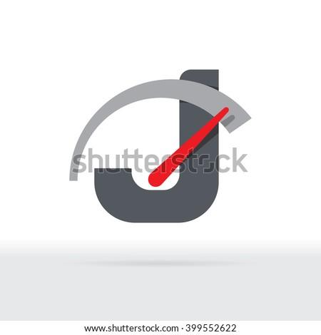 J Letter Car Speedometer, B Letter Meter Logo - stock vector