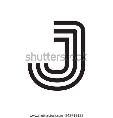 J Letter Formed By Parallel Lines Stock Vector 342918122 Shutterstock