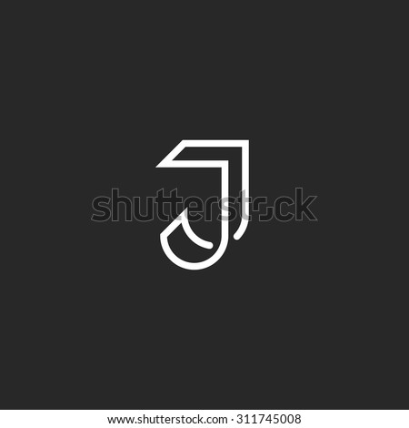 J Letter Logo Monogram, Illusion Crossing Thin Line, Black And White Mockup  JJ Emblem