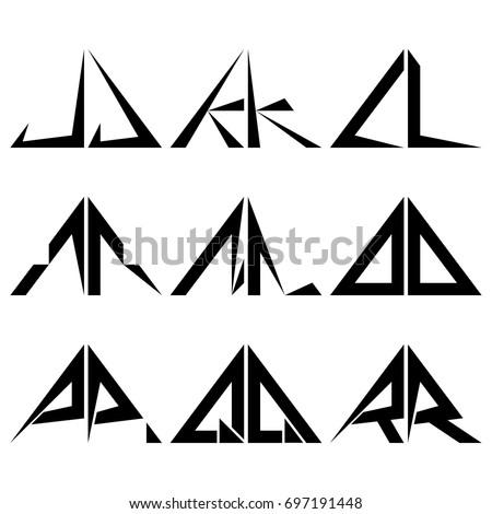 Jr Half Triangle Shapes Symbol Letter Stock Vector 2018 697191448