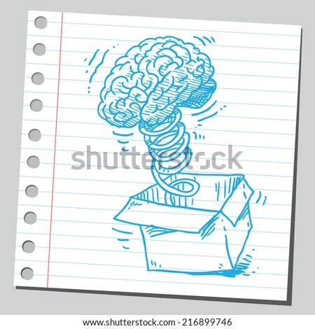 Jack in the box brain - stock vector
