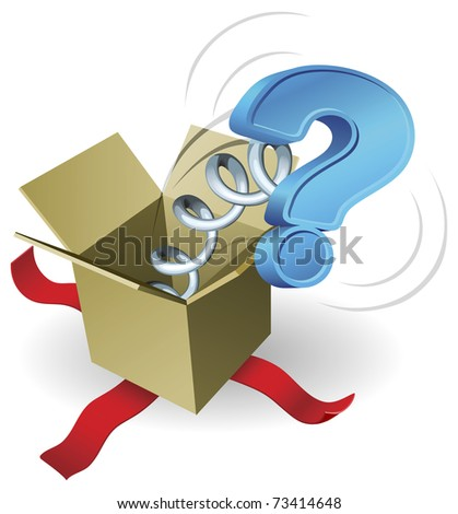 Jack in the box question mark concept. A question mark springing out of a box conceptual illustration.