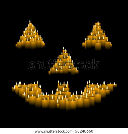 Jack-o-lantern face made out of orange candles - stock vector