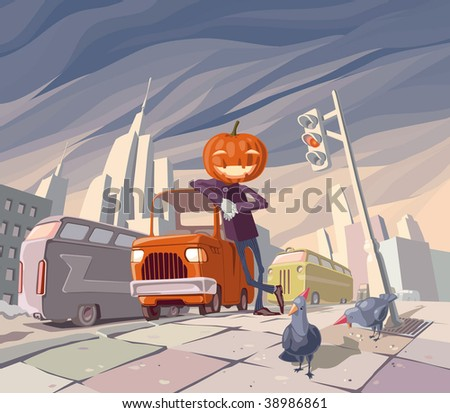 Jack O' Lantern is staying near his orange funny car in the middle of the main street in a big city. There are two pigeons wearing holiday caps near Jack. - stock vector