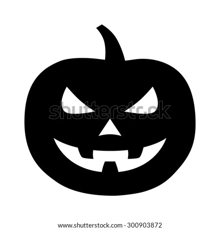 Jack-o'-lantern / jack-o-lantern Halloween carved pumpkin flat icon for apps and websites - stock vector