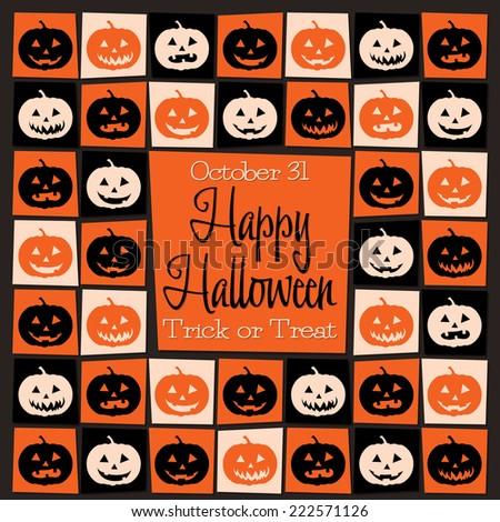 Jack O' Lantern mosaic retro Halloween card in vector format. - stock vector