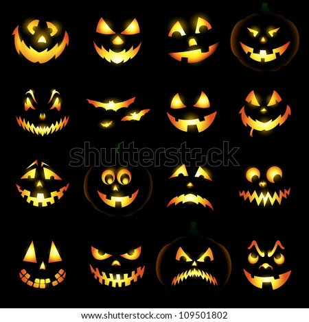 Jack o lantern pumpkin faces glowing on black background - stock vector